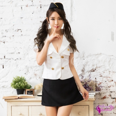 Sexy Cynthia 角色扮演 甜蜜航行V領襯衫短窄裙三件式空姐角色服-白F