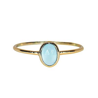 Pura Vida 美國手工 玉髓石橢圓造型金色戒指