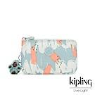Kipling 湖水綠印象派塗鴉三夾層配件包-CREATIVITY L