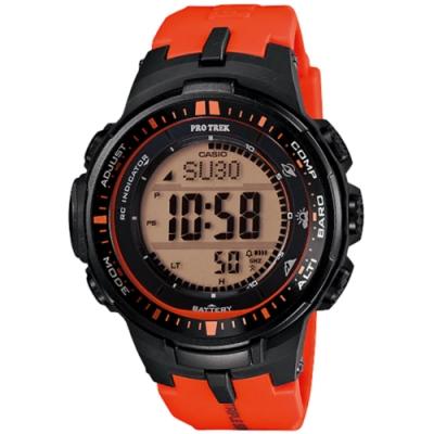 CASIO PRO TREK 太陽能世界6局電波登山錶-紅(PRW-3000-4D)/ 32mm