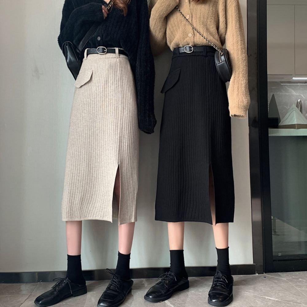 La Belleza鬆緊腰單假口袋側開叉坑條針織裙過膝中長裙附腰帶