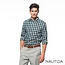 Nautica經典格紋修身長袖襯衫-深綠格