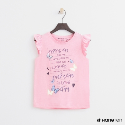 Hang Ten -童裝 - 有機棉-無袖荷葉造型上衣 - 粉