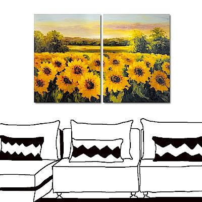 橙品油畫布 兩聯式 田園風無框畫-向日葵園30x40cm