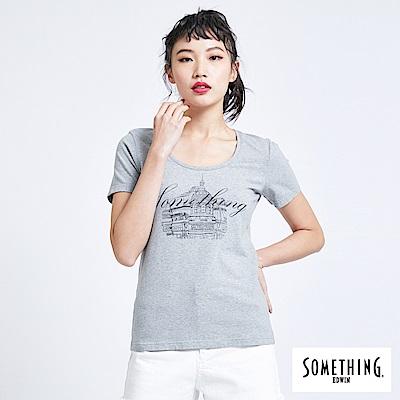 SOMETHING 巴黎左岸街景 短袖T恤-女-麻灰
