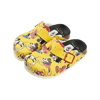 迪士尼90周年限定款 米奇 經典滿版 休閒拖鞋-黃