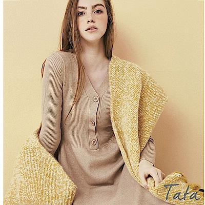V領排扣針織洋裝 共三色 TATA
