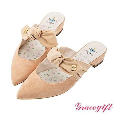 Disney collection by grace gift蝴蝶結綁帶穆勒鞋 粉橘