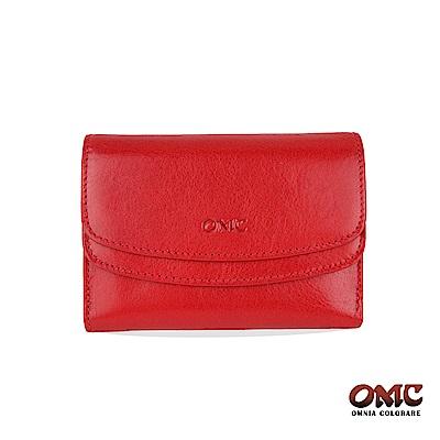 OMC 原皮系列-植鞣牛皮雙壓扣11卡透明窗零錢中夾-紅色