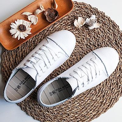 BuyGlasses 溫柔感受全真皮後踩休閒鞋-白