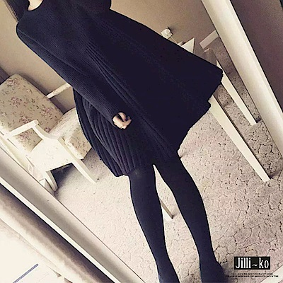 Jilli~ko 韓版針織A字連衣裙-黑色/灰色