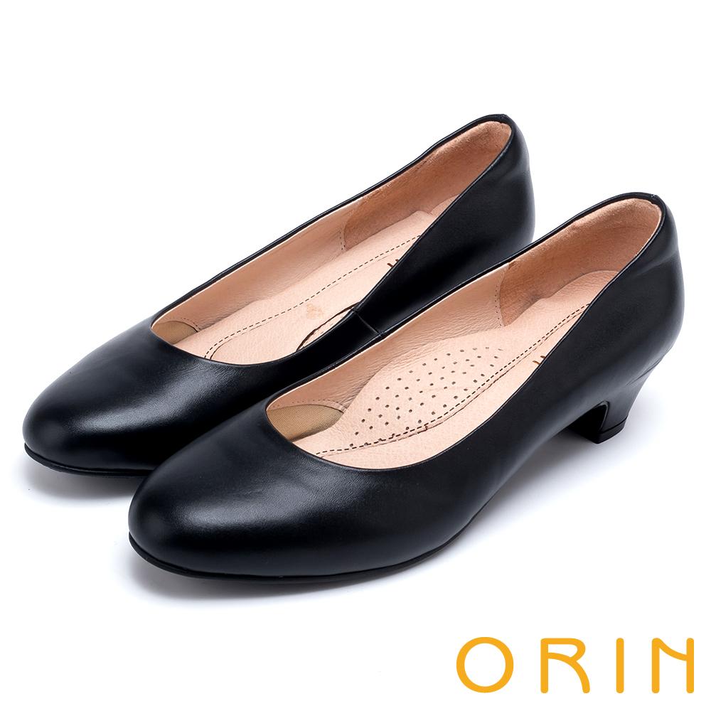 ORIN 簡約時尚OL 質感羊皮素面尖頭粗跟鞋-黑色
