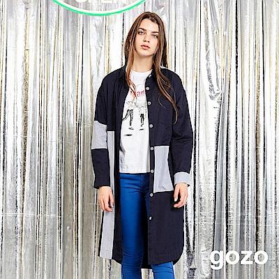 gozo 條紋拼接長版襯衫洋裝(深藍)