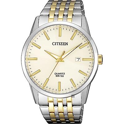 CITIZEN 星辰 簡約石英錶-淡金x雙色版/39mm(BI5006-81P)