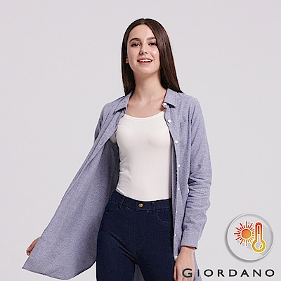 GIORDANO 女款Beau-warmer plus+彈力圓領極暖衣-02 白色