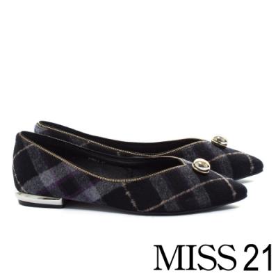 低跟鞋 MISS 21 復古質感金屬球型釦點綴毛呢尖頭低跟鞋-格紋