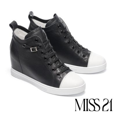 休閒鞋 MISS 21 自在彈性鞋帶全真皮內增高厚底休閒鞋-黑