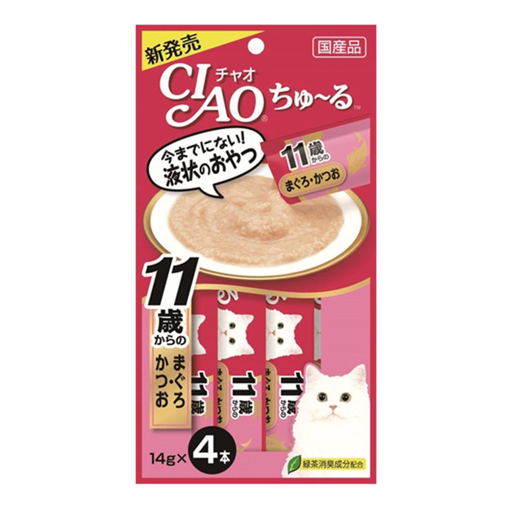 CIAO啾嚕肉泥11歲高齡老貓(鮪魚+鰹魚)單包14g*4支-10包組