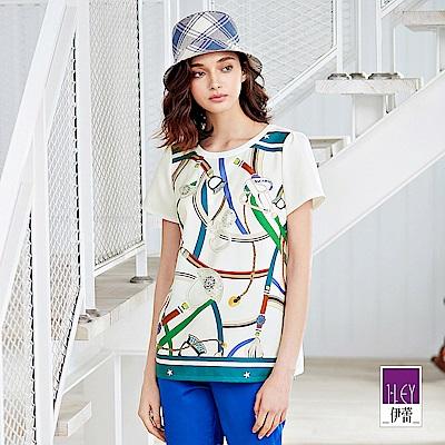 ILEY伊蕾 時尚絲巾印花寬版上衣(白)