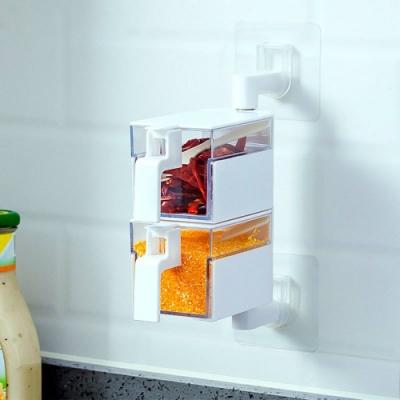 壁掛式旋轉收納調味盒/調味罐 無痕調味料收納架 免打孔 兩層款