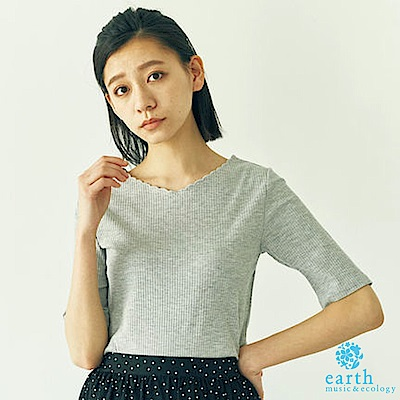 earth music 花邊領口素面羅紋上衣