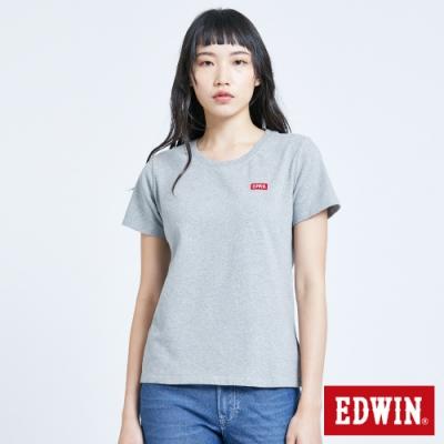 EDWIN 第七代 基本LOGO短袖T恤-女-麻灰色