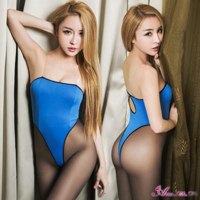 Anna Mu死庫水平口美背高衩死庫水二件式連身衣-寶藍F