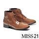 短靴 MISS 21 液感光澤皺漆全真皮綁帶低跟短靴-咖 product thumbnail 1