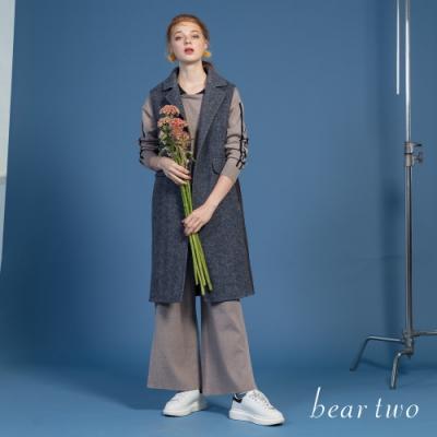 beartwo - 翻領側口袋長版背心 - 灰