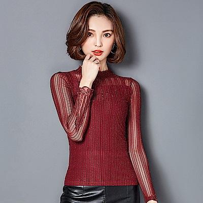 ALLK 圓領網紗蕾絲袖上衣 共4色(尺寸M-XXL)