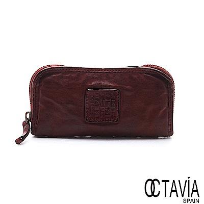 OCTAVIA 8 真皮 - 風化牛皮系列 你的標籤 全拉式長夾 - 暗紅