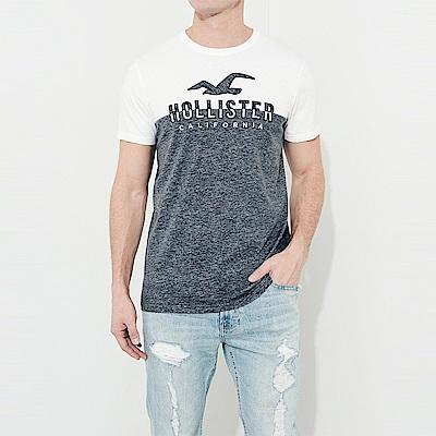 HCO Hollister 海鷗 經典電繡文字大海鷗圖案短袖T恤-白藍拼色