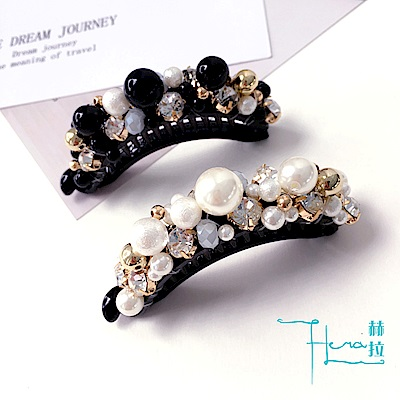 Hera 赫拉 黑白珍珠鑲鑽香蕉夾 @ Y!購物