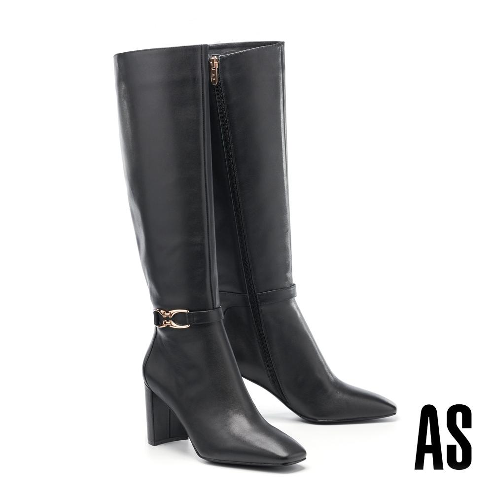 長靴 AS 時髦個性金屬釦繫帶造型全真皮方頭高跟長靴-黑