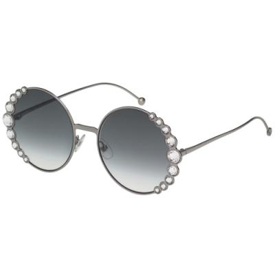 FENDI  圓框 水鑽 太陽眼鏡(銀色)
