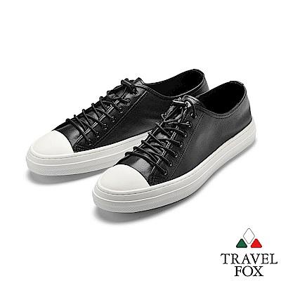 TRAVEL FOX(男)走心 素人風牛皮街頭休閒鞋 - 型男黑