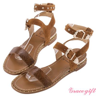 Grace gift X Angel安琪-一字金屬鉚釘飾釦涼鞋 棕