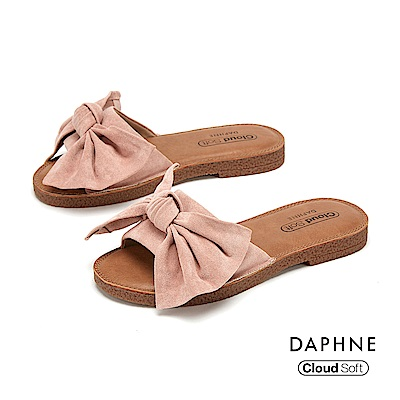 達芙妮DAPHNE 涼鞋-大方甜美蝴蝶結飾平底拖鞋-粉紅