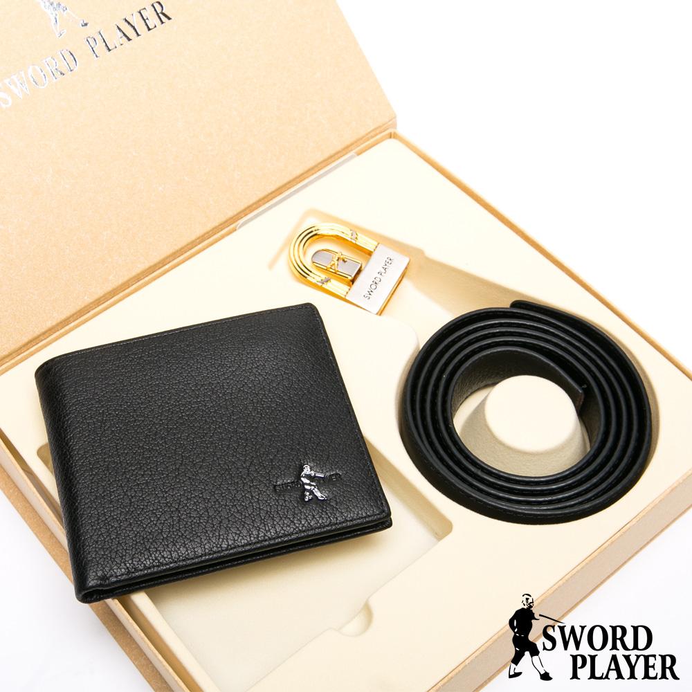 SWORD PLAYER - 莎普爾英倫款真皮皮帶+10卡1照皮夾禮盒組