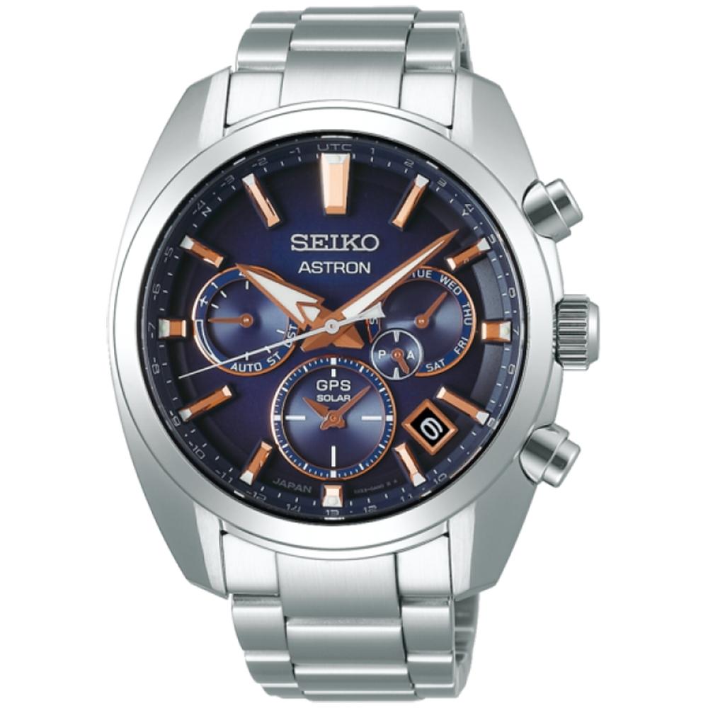 SEIKO精工5X53雙時區GPS衛星定位不鏽鋼錶款(SSH049J1/5X53-0AJ0U)