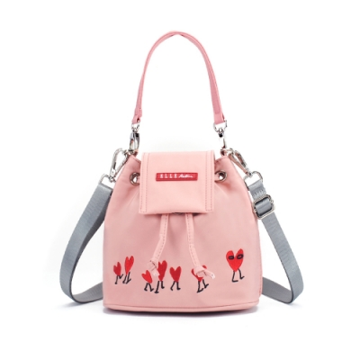 ELLE Active 熱愛追隨系列-束口側背包/斜背包-粉紅色