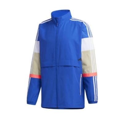 adidas 外套 UB Colorblock Jacket 男款 愛迪達 立領 防風 風衣外套 彈力袖口 藍 白 GL0401