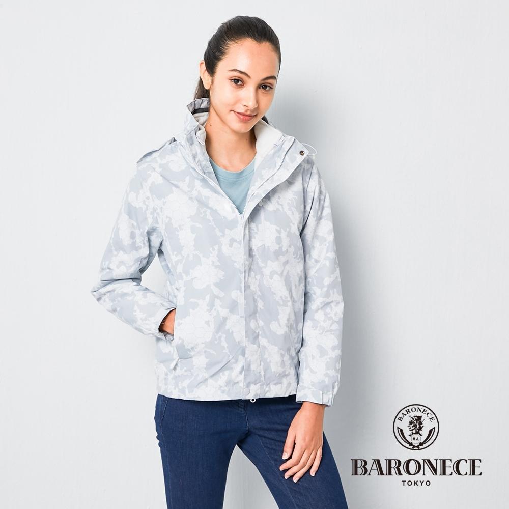 BARONECE 百諾禮士休閒商務 女裝 兩件式鋪棉迷彩連帽夾克外套-白色(2206781-90)