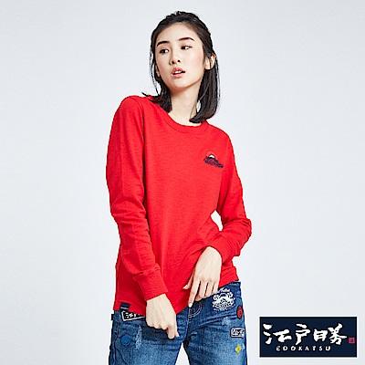 EDWIN EDOKATSU 江戶勝 地圖繡花標地長袖T恤-女-紅色