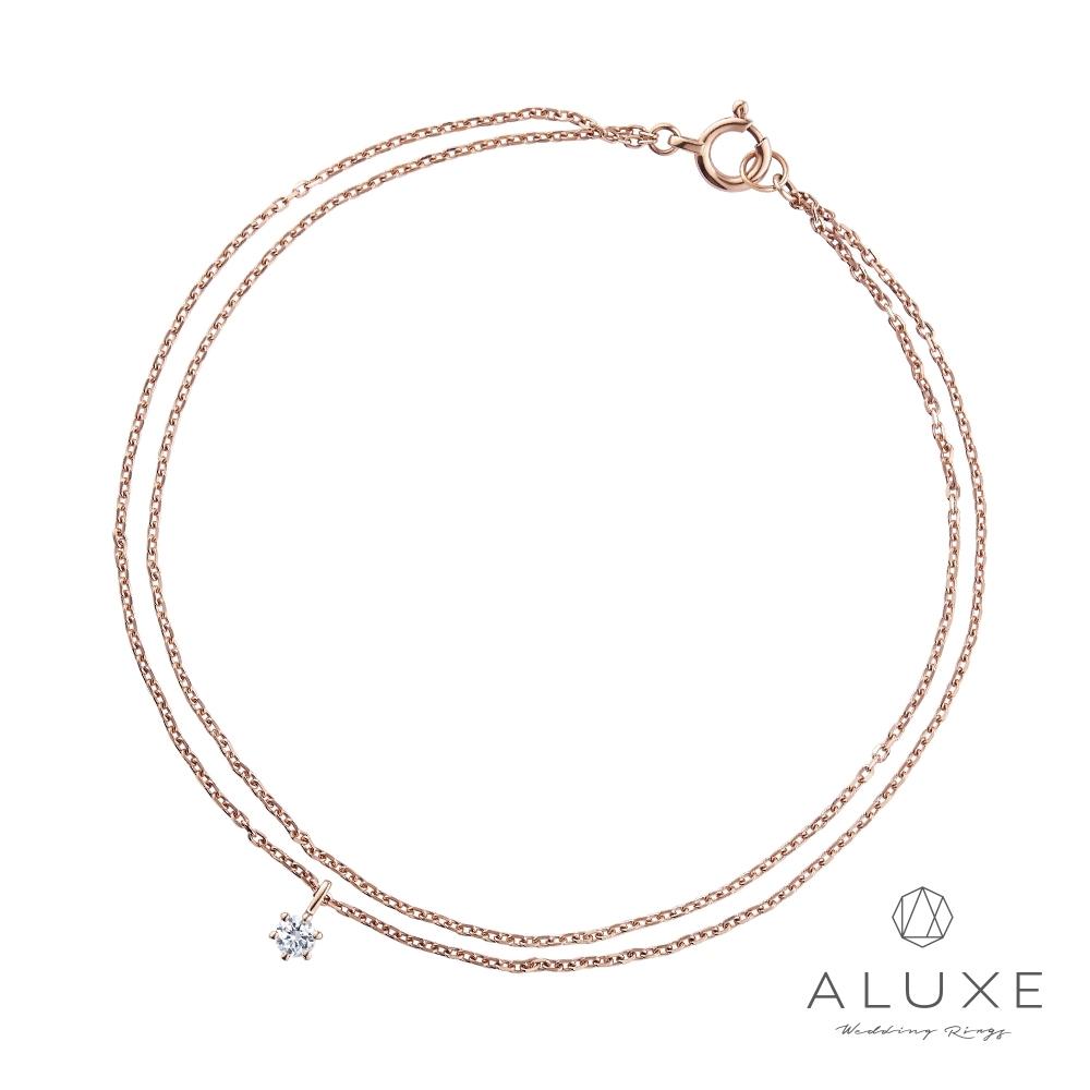 ALUXE 亞立詩 10K金 閃耀鑽石雙層手鍊