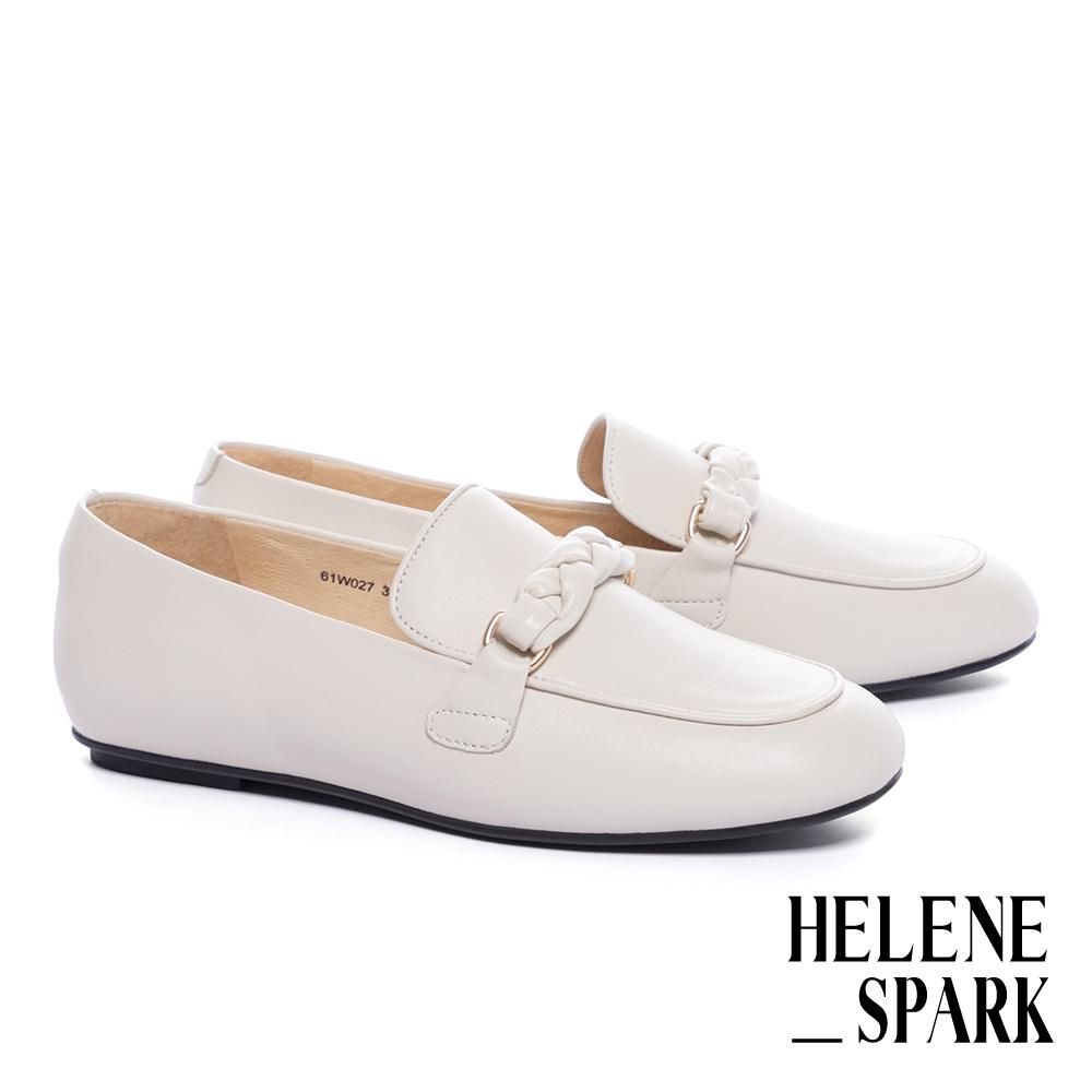 平底鞋 HELENE SPARK 簡約麻花編織條帶羊皮樂福平底鞋-白