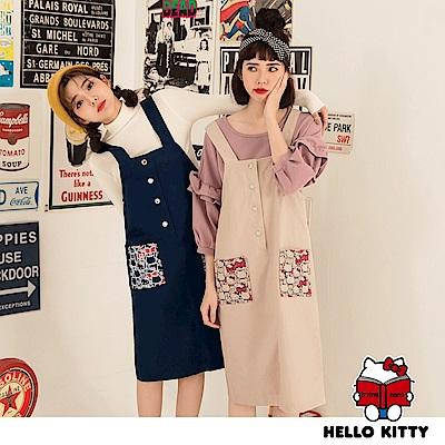 KITTY俏皮口袋印花排釦造型吊帶裙-OB大尺碼
