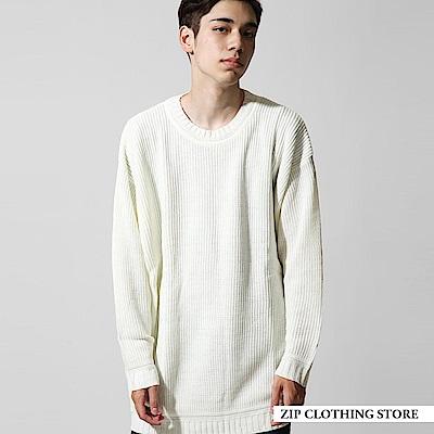 麻花編寬版圓領針織毛衣(8色) ZIP日本男裝