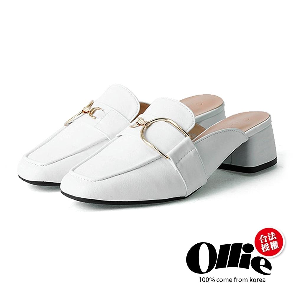 Ollie韓國空運-極簡品味金屬圓扣方頭穆勒鞋-現貨+預購