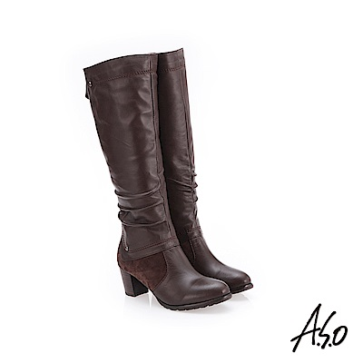 A.S.O 簡約風格 抓皺皮革長靴 咖啡